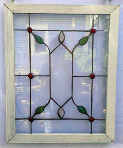 Handmade-Wood-Framed-Stained-Glass-Window-Petals-Leaves-Window-Decor ...