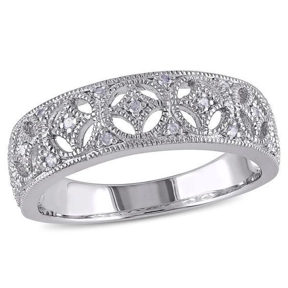 Zales Diamond Accent Vintage-Style Crossover Ring in Sterling Silver tXVm4L