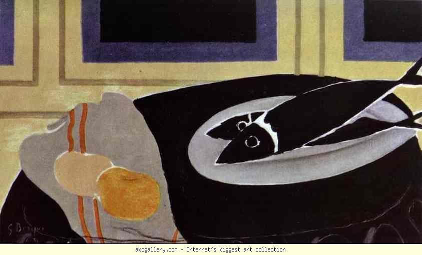 Georges Braque. The Black Fish. 1942. Oil on canvas. 33 x 54.8 cm. Musée National d'Art Moderne, Centre Georges Pompidou, Paris, France. Olga's Gallery.