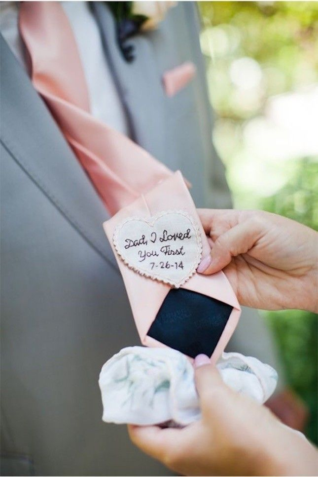 This Embroidered Tie Is Such A Sentimental Gift To Give Your Dad On Wedding Day