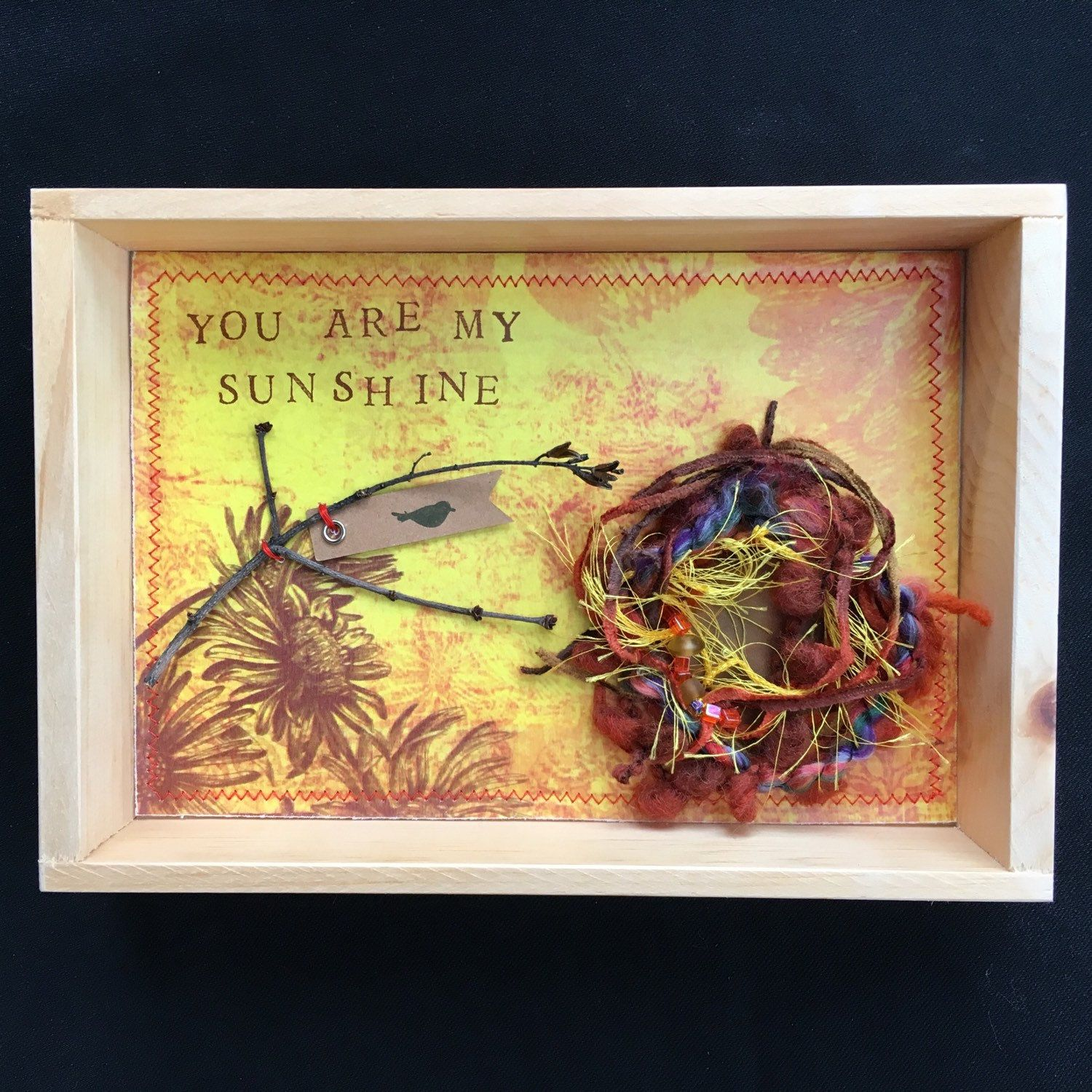 You are My Sunshine Shadowbox Collage, bird nest assemblage with ...