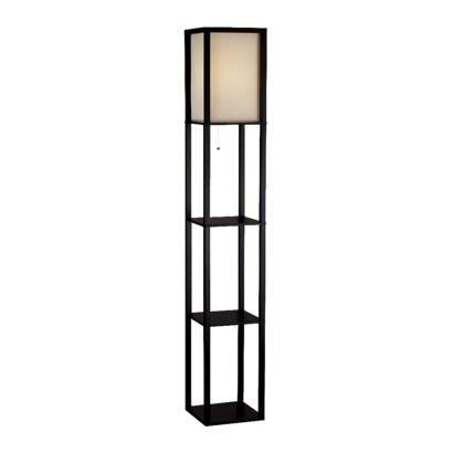 Square Floor Lamp With Paper Shade And Shelves Black Beige