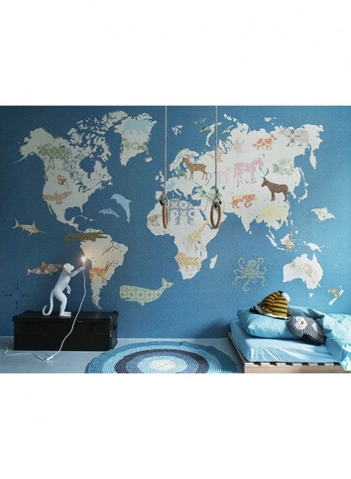 World map childrens wallpaper by Inke Wallpaper Playrooms and
