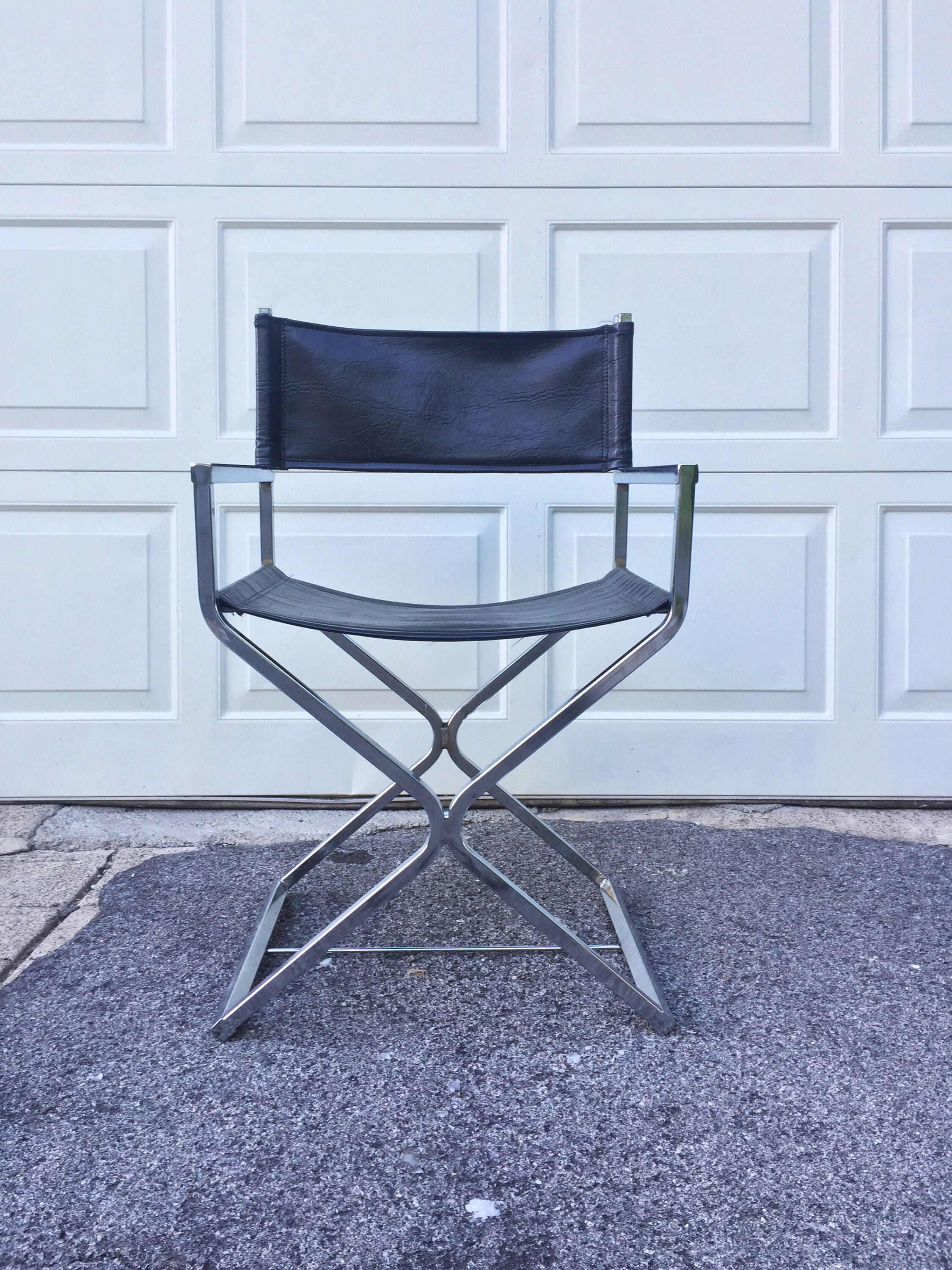 Chairamp; Chrome Directors Mid Century Leather Black Modern WCBeQrdox