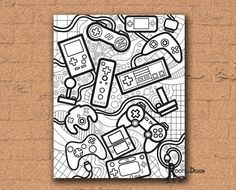 Instant Download Coloring Page Video Game Controllers Etsy Doodle Art Doodle Art Posters Doodle Art Designs
