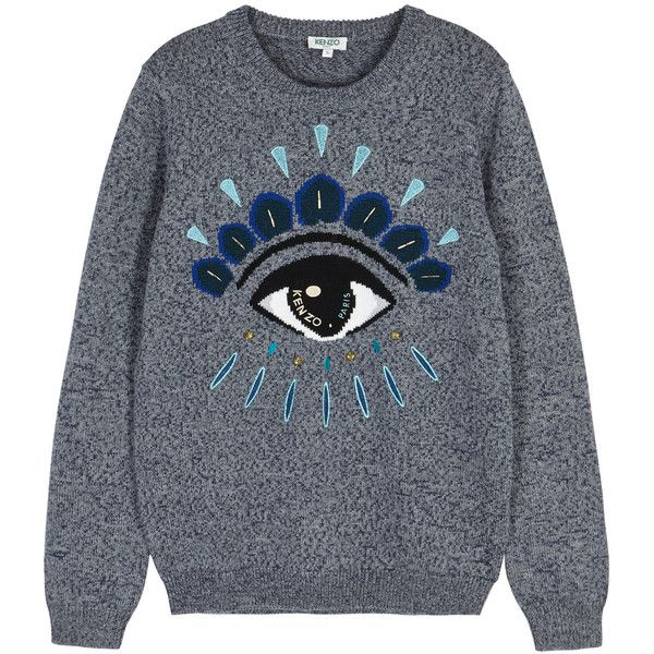 KENZO Blue Eye-intarsia Wool Blend Jumper - Size M (6 350 ZAR)