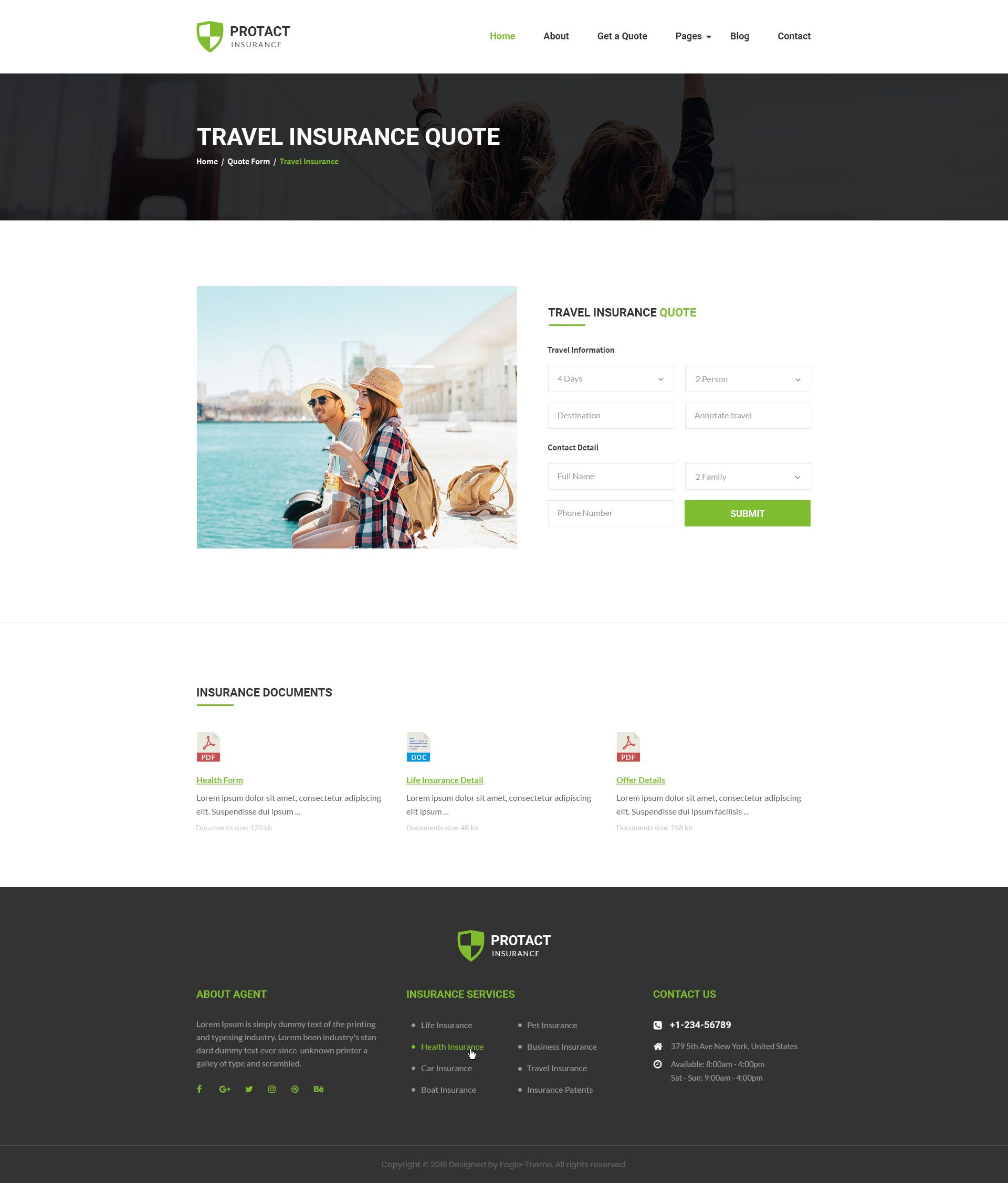 Protact Insurance Agency Business Psd Template Insurance Agency Psd Templates Insurance