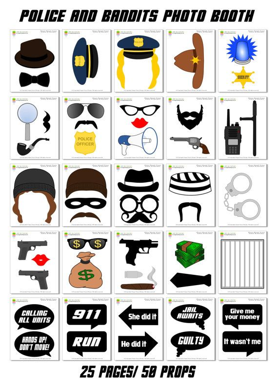 Instant Download Diy Printable Police Bandits Photo Booth Props Set Of 51 Pieces 40 Props 10 Speech Bubbl Photo Booth Props Photo Booth Sign Photo Booth