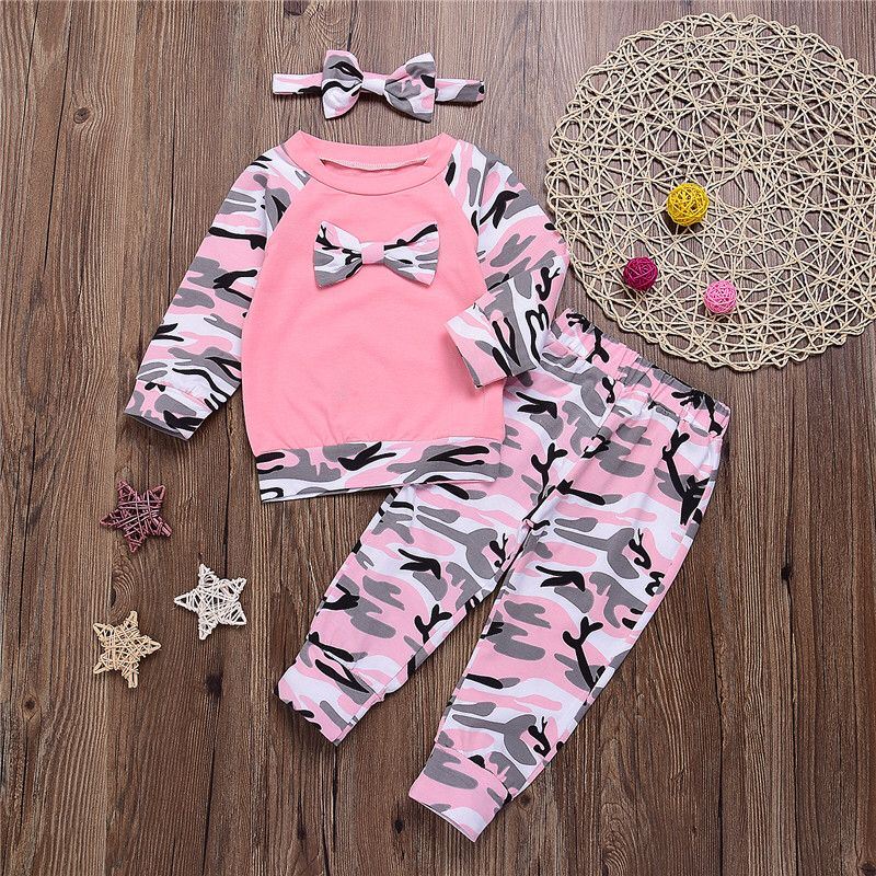 Infant Baby Toddler Girl Pink Camouflage Outfit Clothing W// Bow Headband