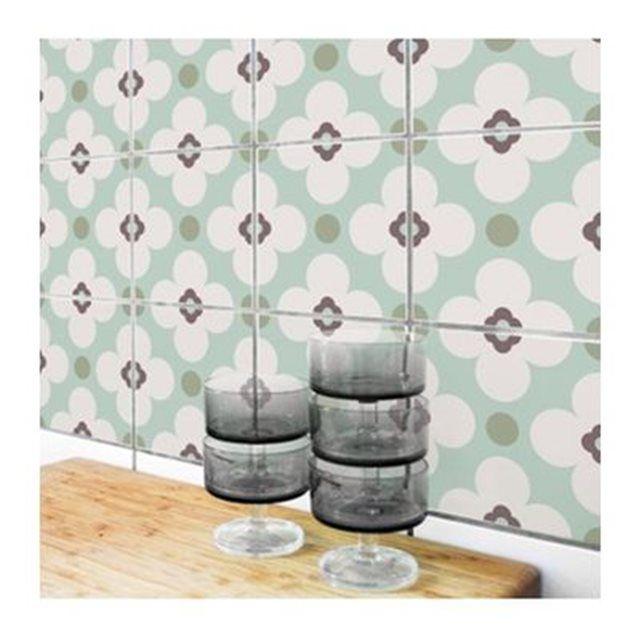 Set composé de 4 stickers muraux pour carrelage de salle de bain ou