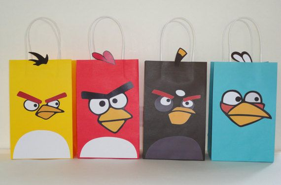 Instant Download Angry Birds Favor Bags Diy Angry Birds Goody Bags Party Bags Goodie Bags Angry Birds Birthday Par Angry Birds Party Favor Bags Goodie Bags