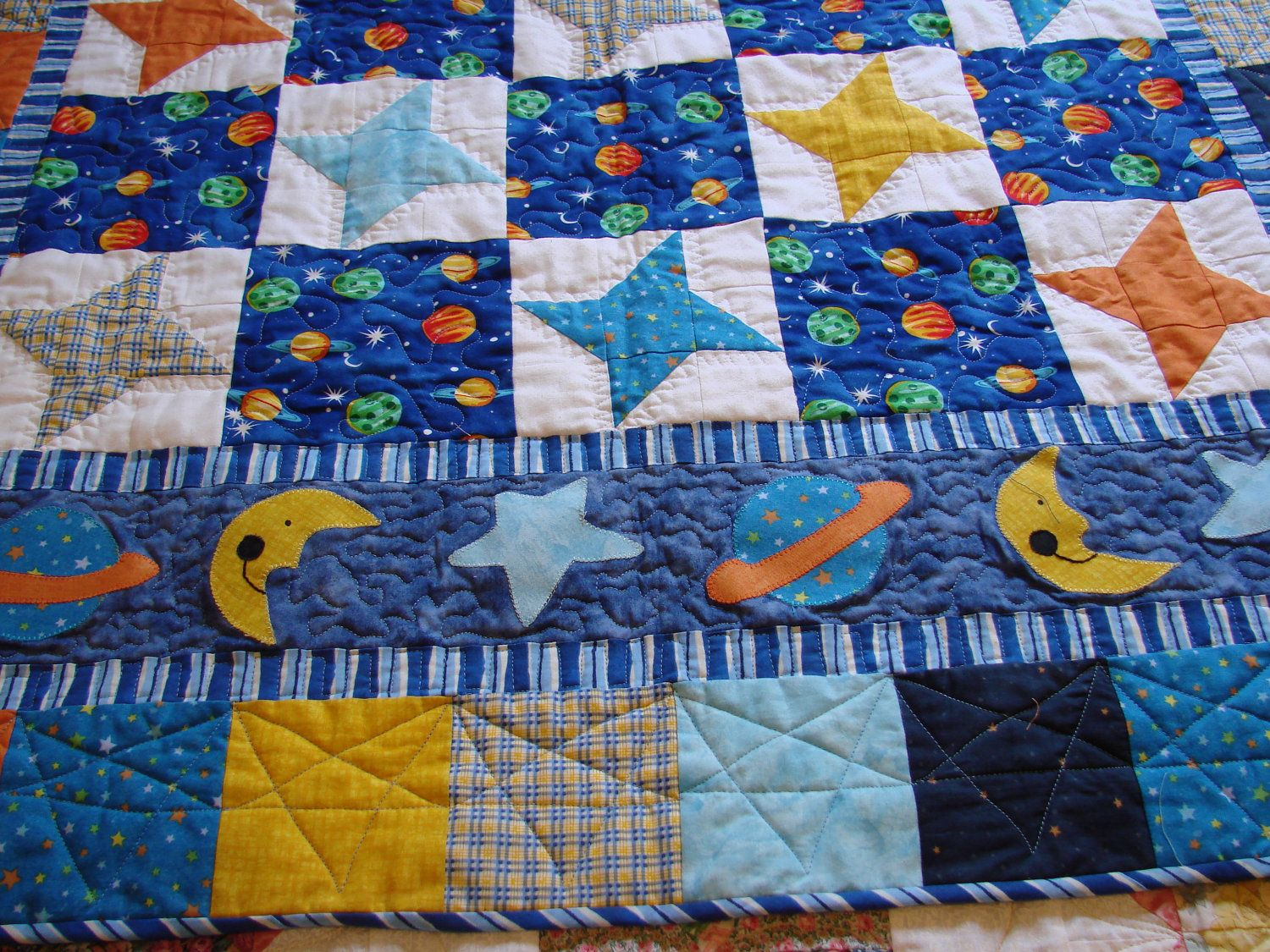 Outer Space Baby Boy Quilt by danastiegemeier on Etsy, $135.00 ... : baby quilts on etsy - Adamdwight.com