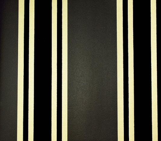 Perroquet Stripe Flock Wallpaper Charcoal And Gold Stripe