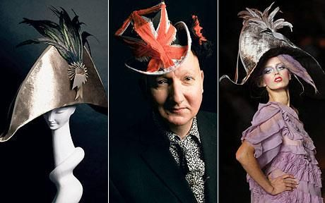 The joy of hats: left, brown Bicorn made from panne velvet and coque feathers; centre milliner Stephen Jones and right, a model displays the Bicorn hat at John Galliano's s/s '09 show