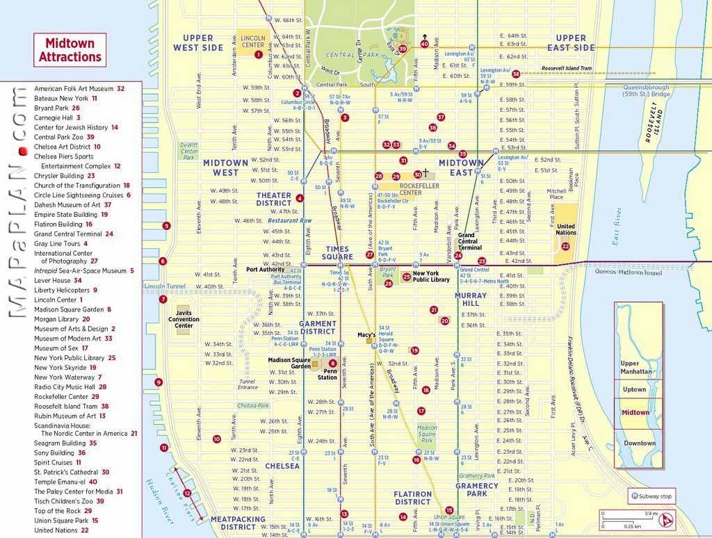 Midtownmanhattansightseeingtripplannernewyorktoptourist - Map of new york city streets