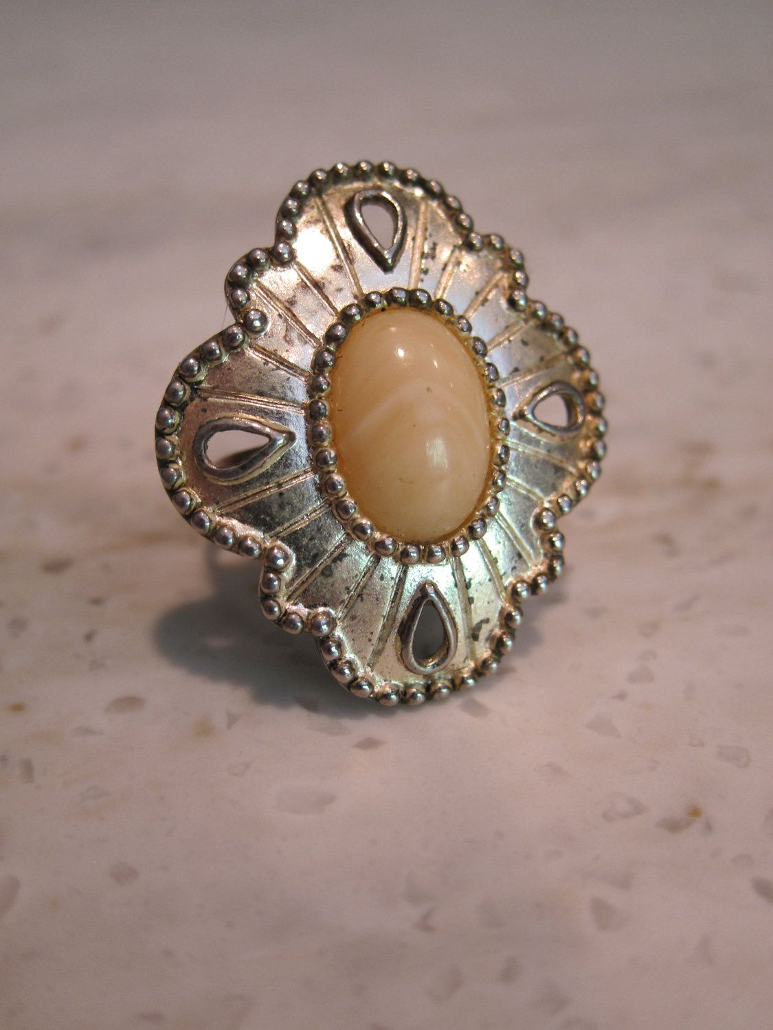 Ring Upcycled from Vintage Clip-On Earring