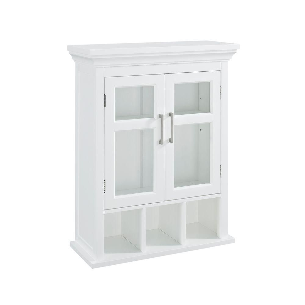 D Bathroom Storage Wall Cabinet With 2 Tempered Gl Doors In White At The Home Depot Mobile