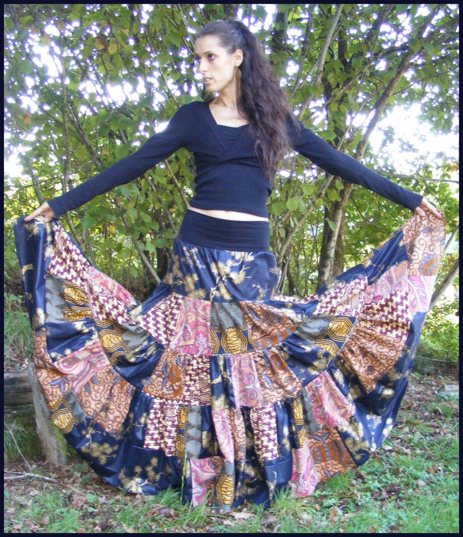 jupe gitane boheme patchwork hippie boho maxi skirt upcycling gypsy de la boutique. Black Bedroom Furniture Sets. Home Design Ideas