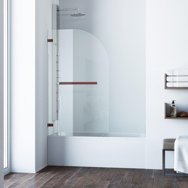 Vigo Vg6071cl3458 Lq Orion 58 High X 34 Wide Hinged Frameless Tub Shower Door Oil Rubbed Bronze Showers Shower Doors Hinged Tub Doors Bathtub Doors Glass Tub