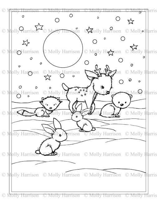 Little Winter Animals Coloring Page Printable Instant Download