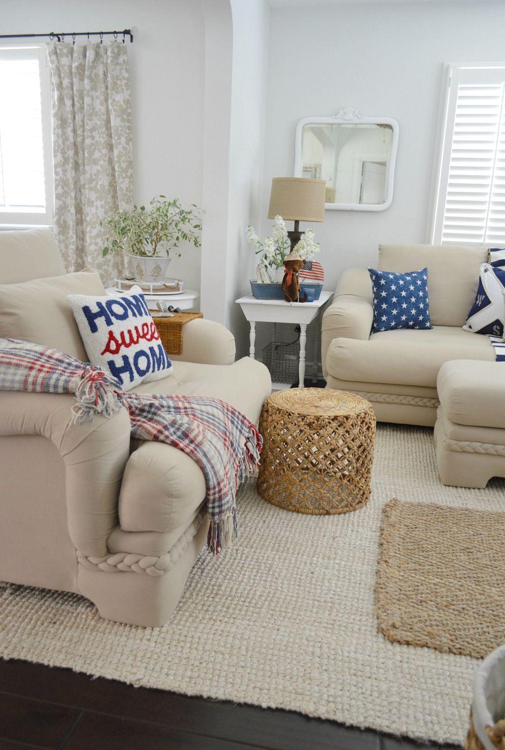 Patriotic Coastal Cottage Living Room Living Room Decor Neutral Coastal Cottage Living Room Home Living Room #red #white #and #blue #living #room