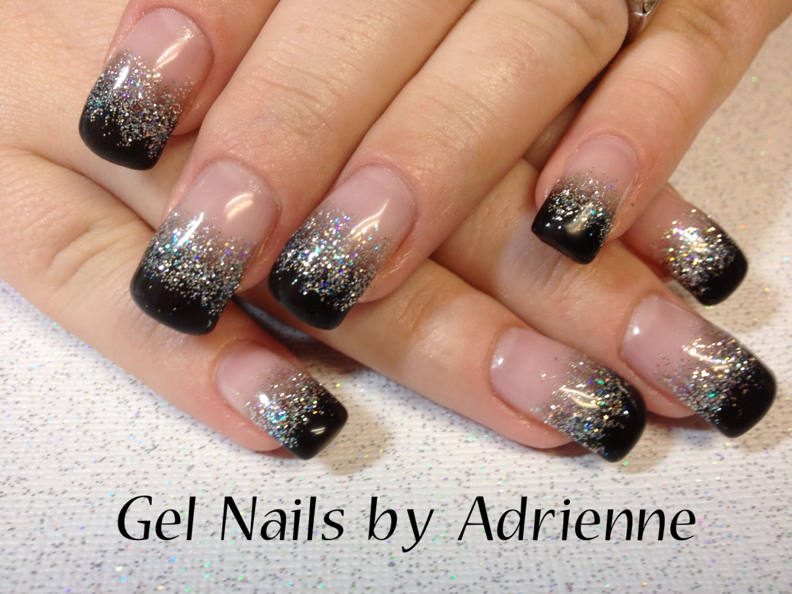 Black & Diamond Glitter gel | Gel Nails by Adrienne | Pinterest ...