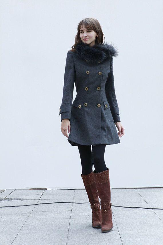9693372468d57 Oscuro gris chaqueta de Cachemira con capucha capa doble botonadura con  capucha de lana invierno chaqueta - por encargo - NC427
