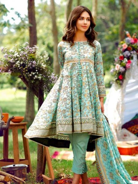d745b7c7be Alkaram Studio Cambric Mid Summer 2017 Unstitched 2 Piece Suit MS-33 in  Green #LawnCollection #SayNoToReplicas