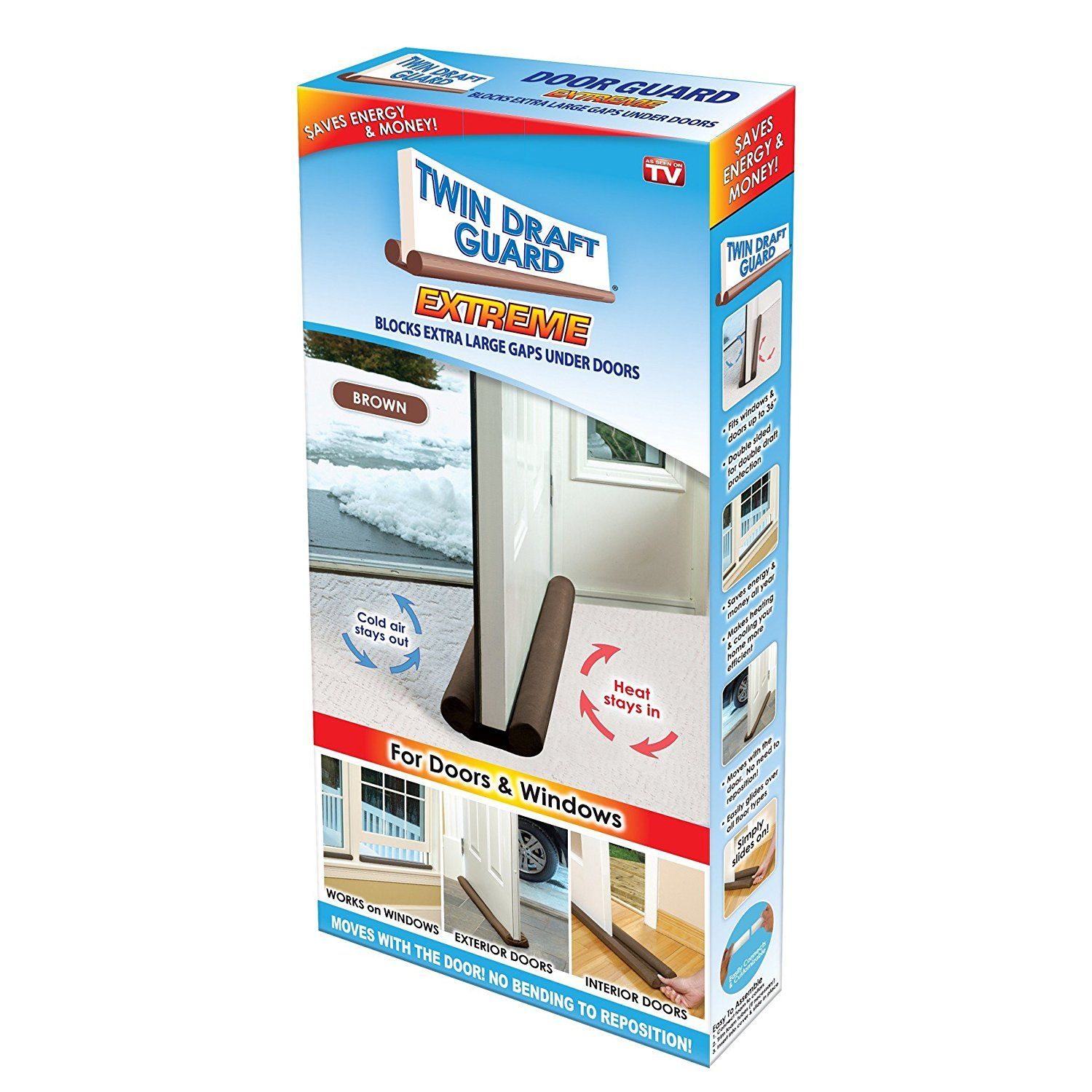 Twin Draft Guard Extreme In Brown Energy Saving Under Door Draft