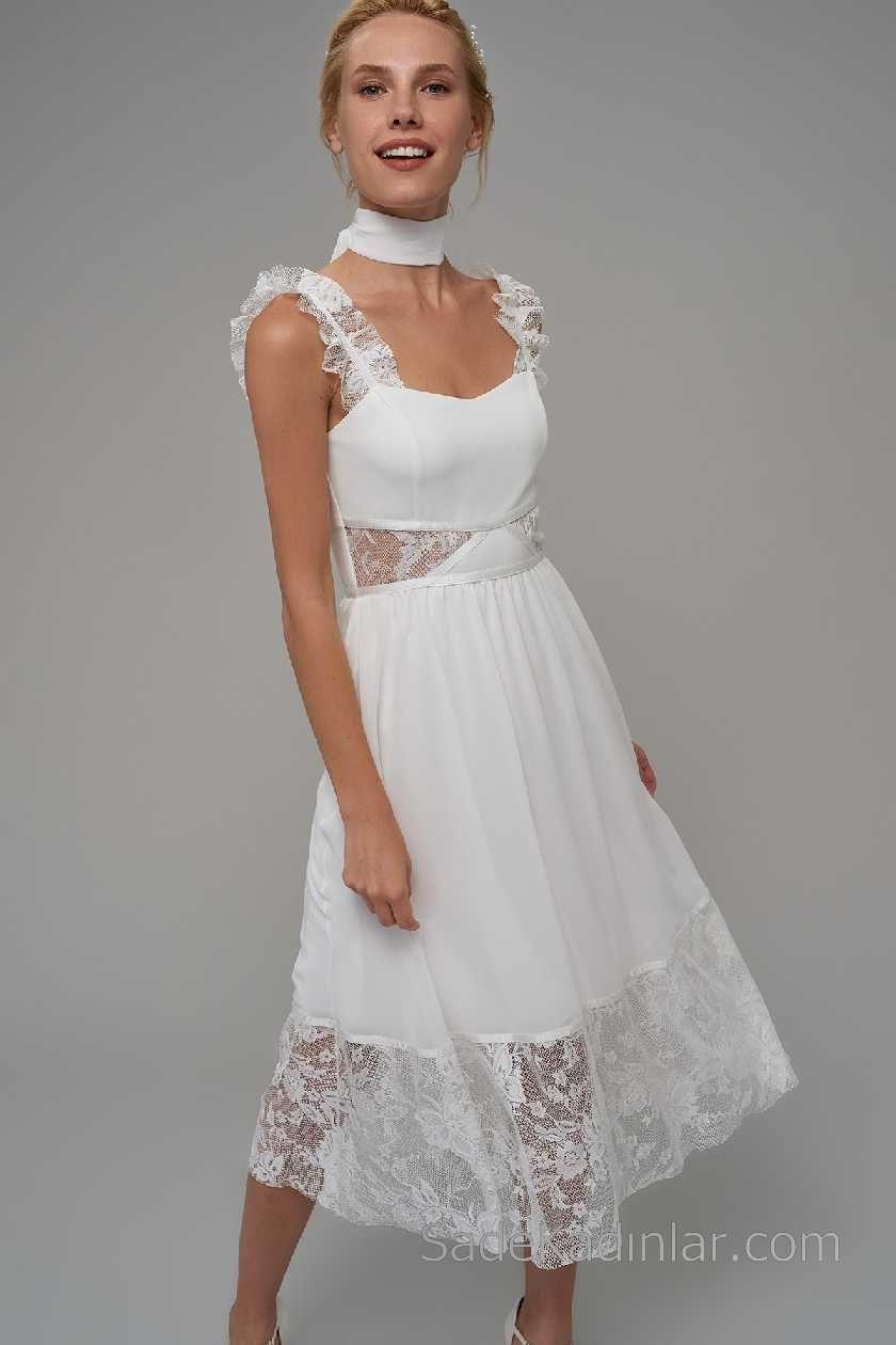 2018 Beyaz Elbise Modelleri Askili Kalp Yaka Tul Detayli Elbise Modelleri Elbise Moda Stilleri