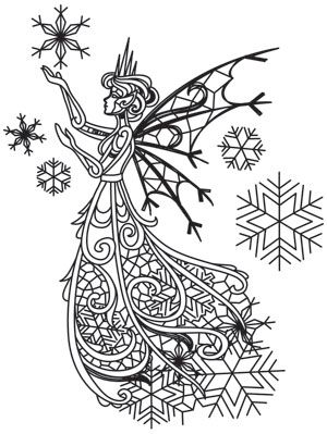 Delicate snowflakes fall around this enchanting faery