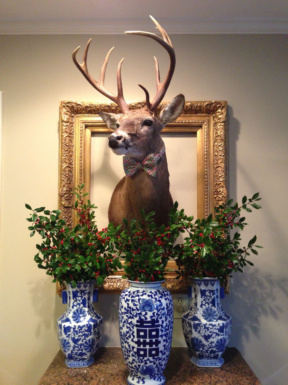 Christmas Deer With Holly Deer Head Decor Deer Decor Antlers Decor