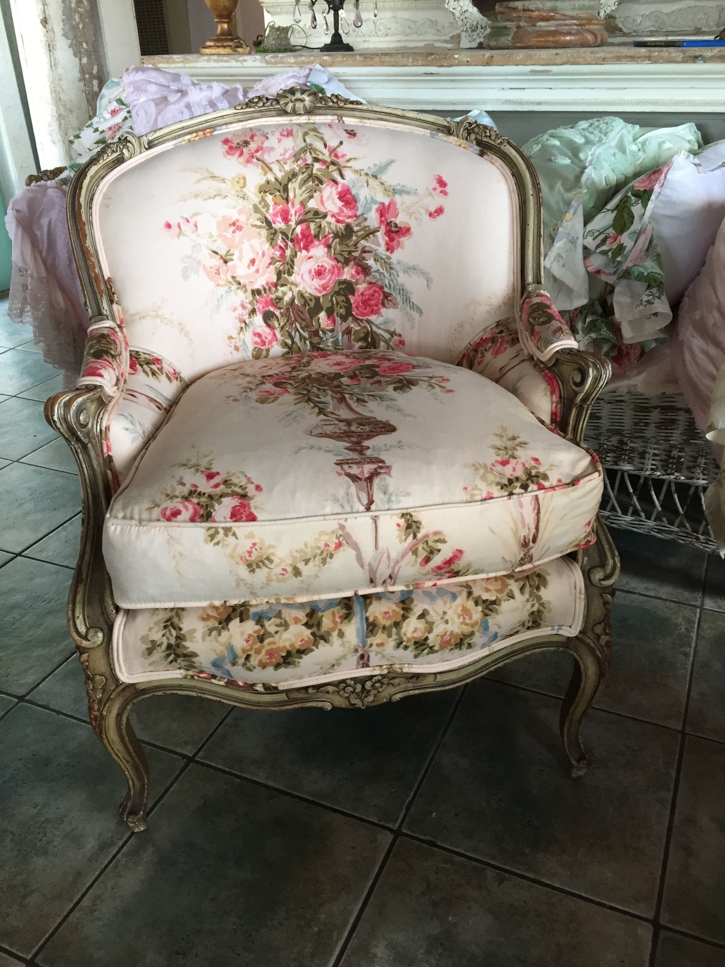 french country sofa fabric con loving this chair in vintage roses shabby chic