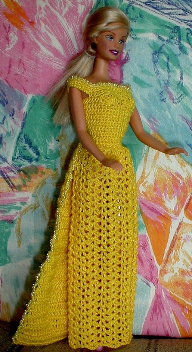 Free crochet pattern for dress with beads Crochet doll