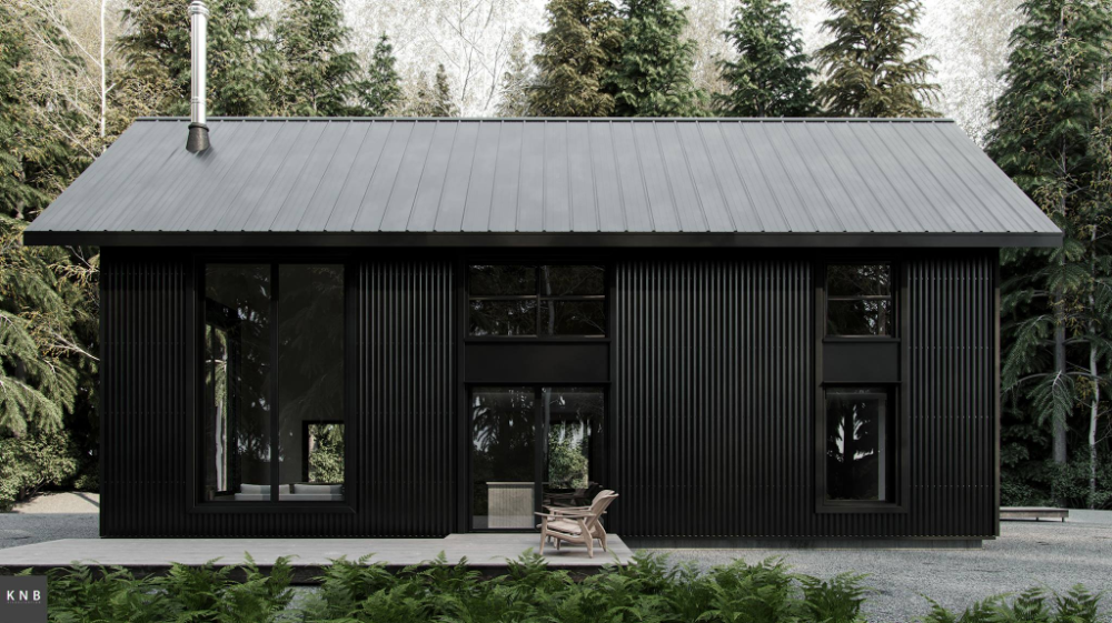 Black Metal Cabin In 2020 Metal House Plans Metal Siding House