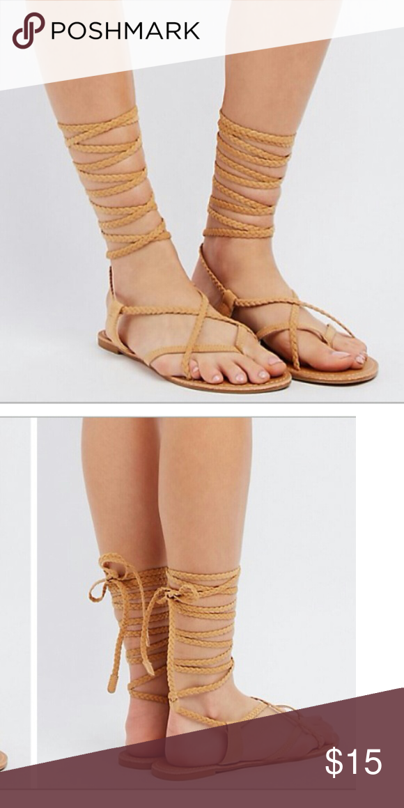 87fde6879d2 NWOT Charlotte Russe Braided Wrap Sandals Thong with a faux suede braid  crisscrosses from toe to heel where it weaves its way up the ankle and ties  in a ...