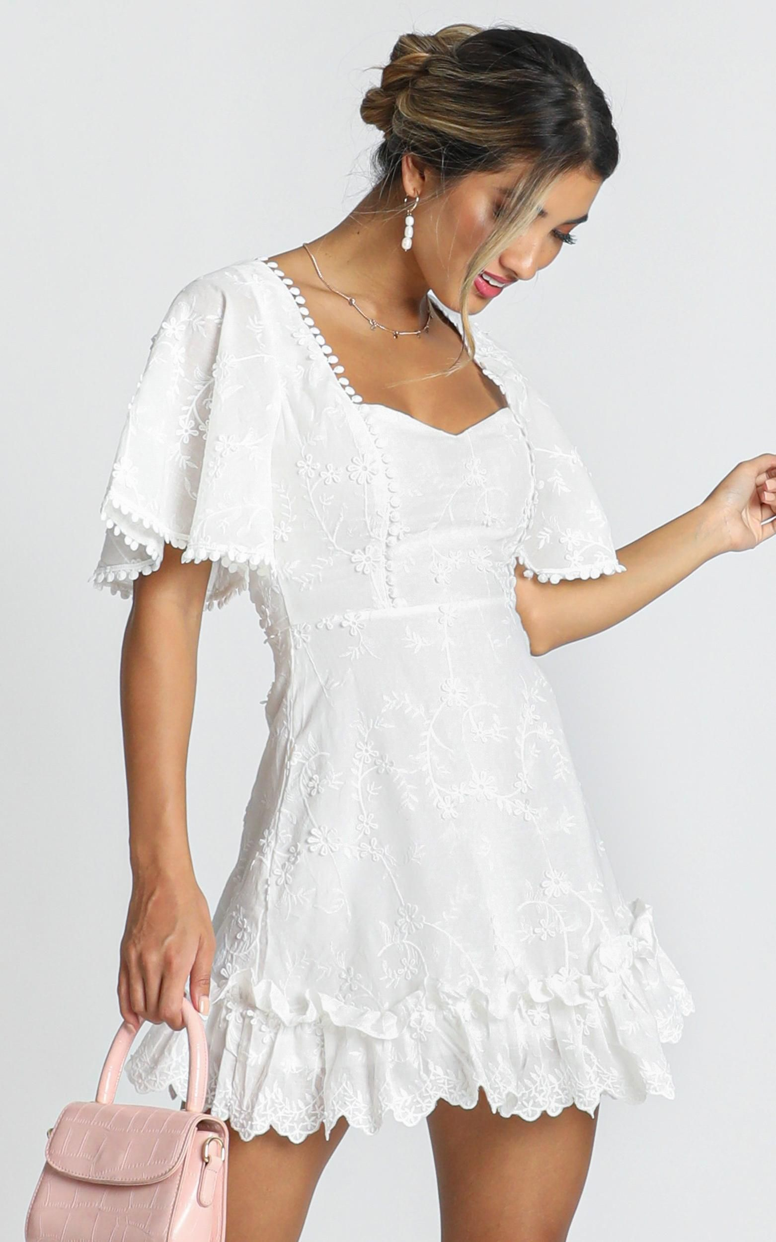 Fancy A Spritz Dress In White Embroidery Showpo In 2021 White Dress Dresses White Embroidery [ 2500 x 1562 Pixel ]