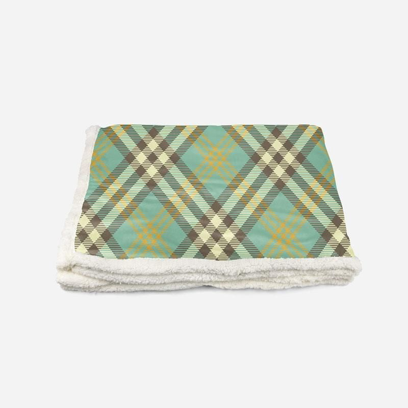 Green and Brown Plaid-Custom Personalised Sherpa Fleece Blanket - Twin