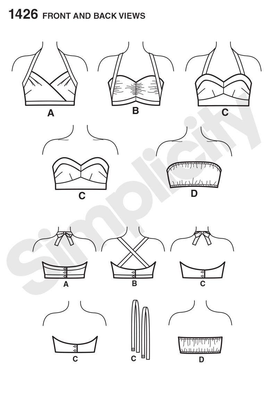 Simplicit... Simplicity Ladies Sewing Pattern 1426 Vintage Style 1950s Bra Tops
