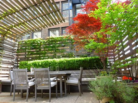 Garden Fencing And Bamboo Patio Cover In Minimalist Patio Design Ideas    Love The Way The Bamboo Can Block Sun From Both The Top And The Side.