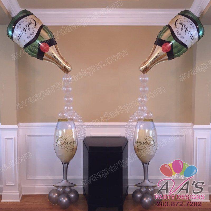 Tropical balloon decor google search ballons for Champagne balloon wall
