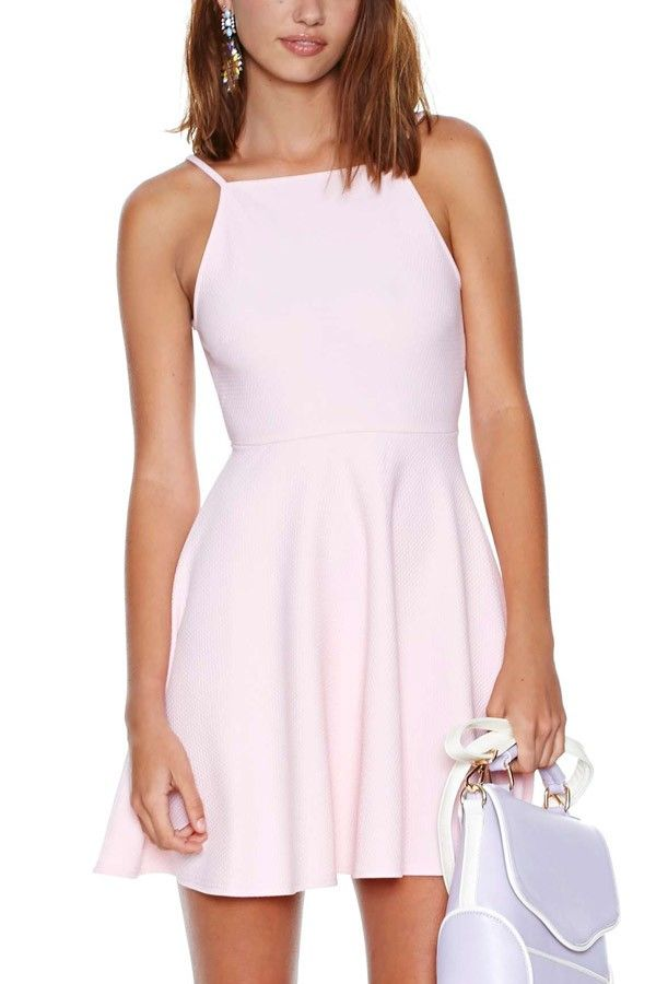 Light Pink Sexy Backless Skater Dress | Boat neck, Pink dress and ...