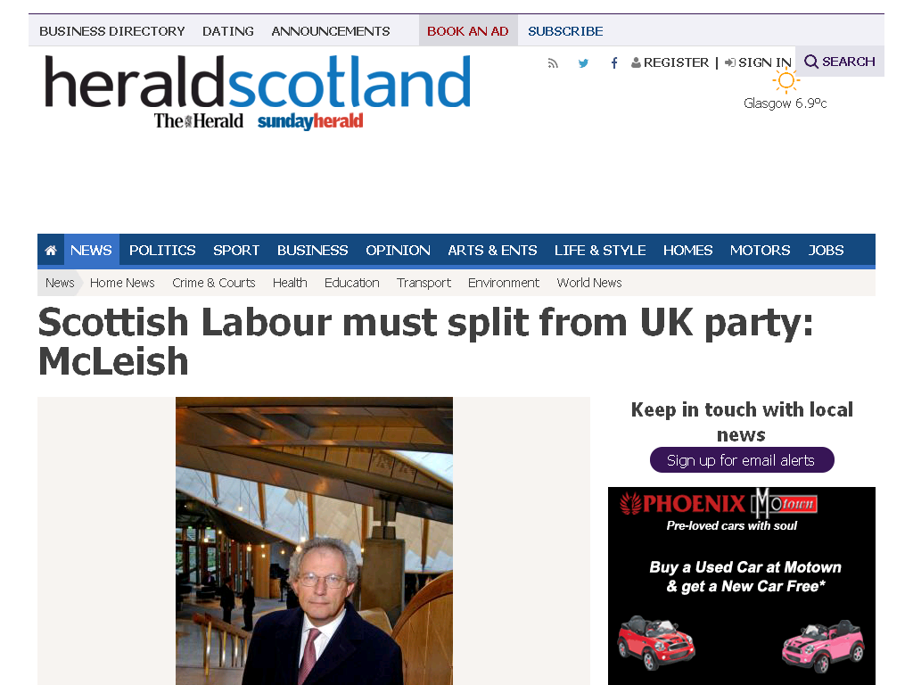 Scottish Labour must split from UK party: McLeish (From Herald Scotla…
