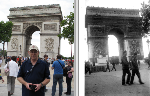 Picture on right taken by my Dad in 1944 after Allies entered Paris near end of WWII.  Picture on left taken of me on July 8,2012 near similar location.