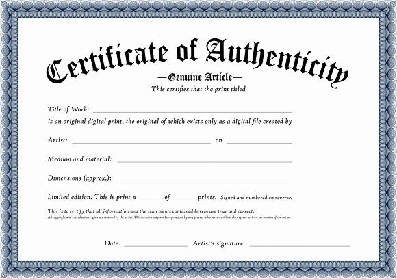 20 Certificate Of Authenticity Art Template In 2020 Free