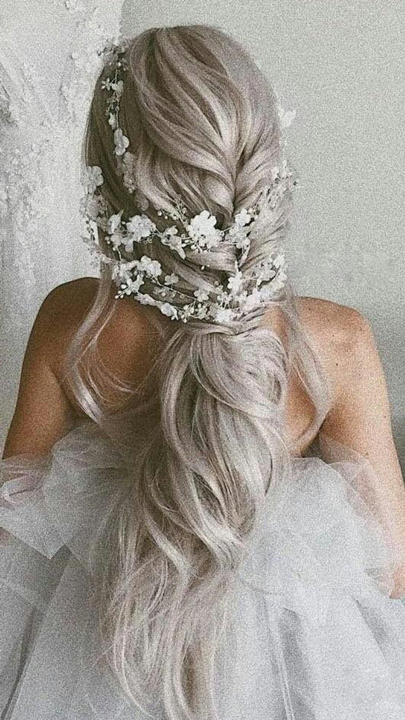 Long Bridal Hair Vine Flower Headpiece Flower Hair Vine Floral Crown Floral Bridal Hair Vine Boho Flower Hairpiece Hair Vine With flowers