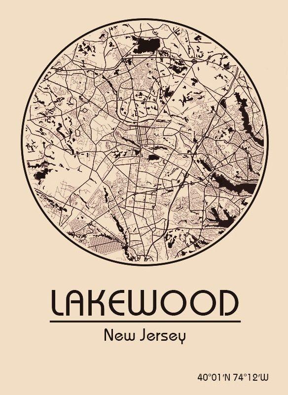 Karte Map Lakewood New Jersey Vereinigte Staaten Von