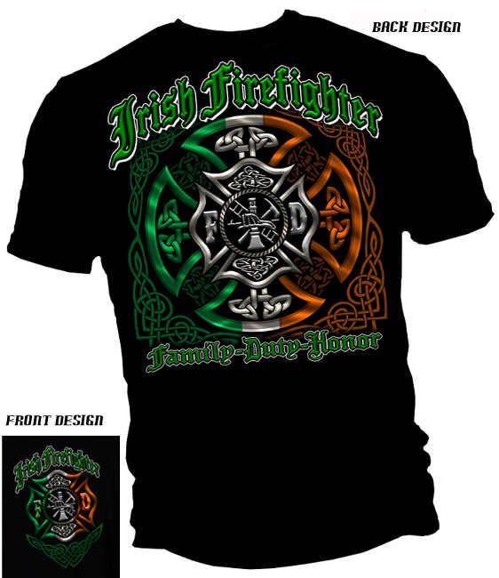 IRISH FIREFIGHTER HERITAGE Shamrock Shield Fire Dept Long Sleeve T Shirt Tee