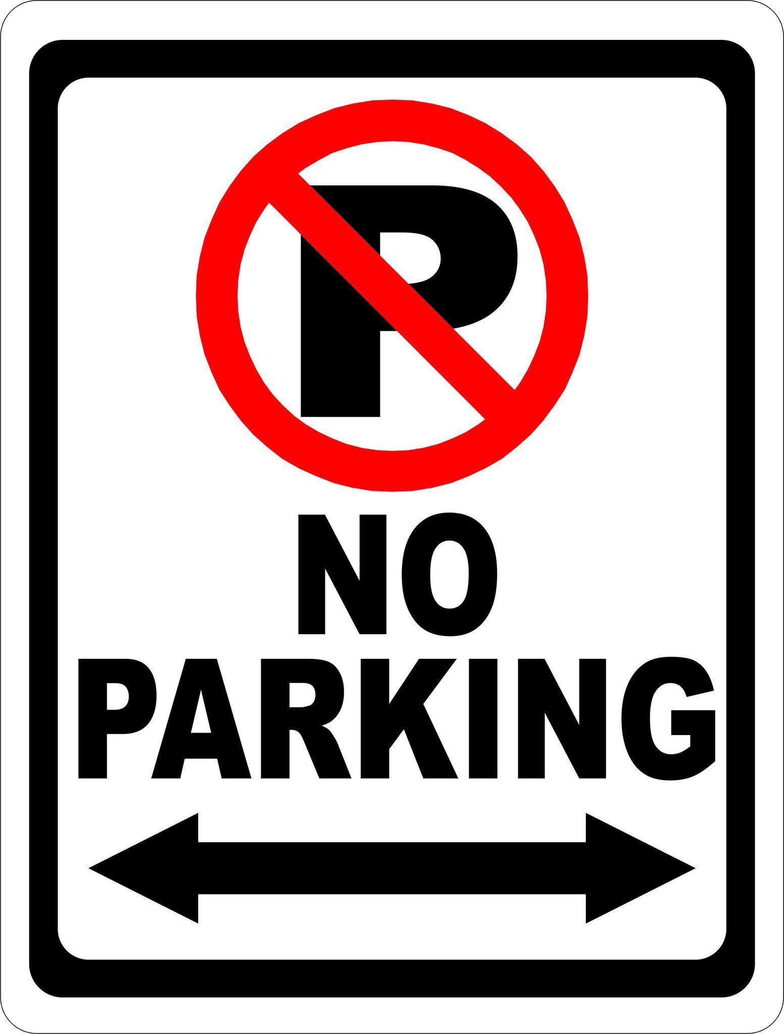 No Parking Sign With Symbol And Arrow Parking Signs Office Door Signs Door Signs