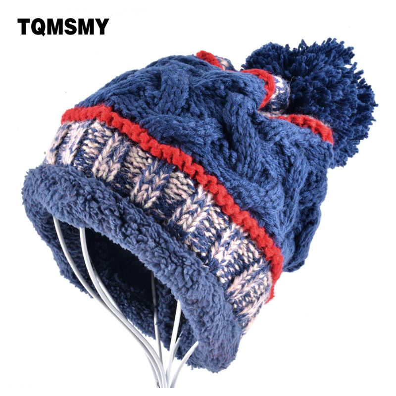 07cbaa62d65 Fashion hats for women beanies winter men cap knitting wool Brand hat Plus  velvet keep warm